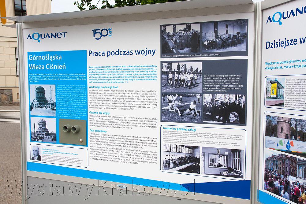 Wystawa plenerowa w Poznaniu - na zdjęciu jedna z plansz ze 150-lecia wodociągów
