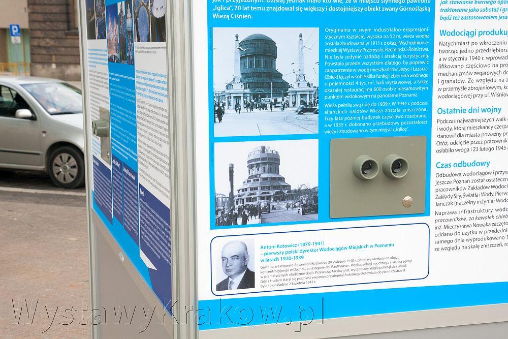 Wystawa plenerowa w Poznaniu - zbliżenie na wizjery w fotoplastikonach, w których widać obraz 3D z przerobionych archiwalnych zdjęć